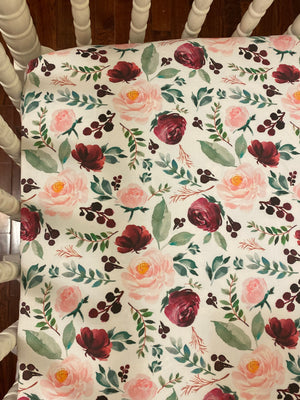 Burgundy Vintage Floral Crib Bedding Set -  Girl Crib Bedding, Crib Rail Cover Set