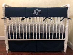 Navy Boy Baby Bedding Set Jason- Boy Crib Bedding, Crib Rail Cover Set