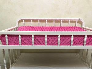Changing Pad Cover - Hot Pink Minky Dot