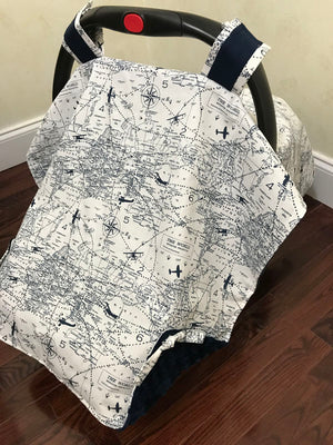 Car Seat Cover - Navy Air Traffic Map with Navy