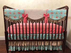 Boho Tee Pee Girl Crib Bedding Set - Girl Baby Bedding, Tee Pee Baby Bedding, Coral Crib Bedding