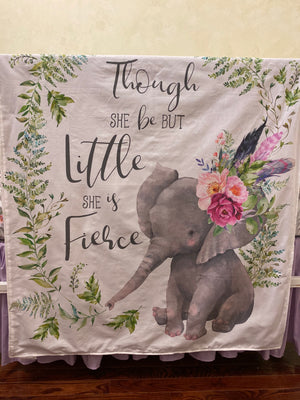 Boho Floral Elephant Mini Crib Bedding Set - Girl Baby Bedding, Girl Mini Crib Bedding
