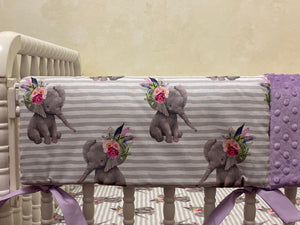Baby Girl Floral Elephant Crib Bedding- Lavender and Gray Elephant Baby Girl Bedding
