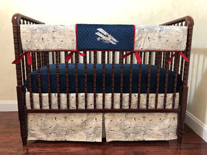 Airplane Bedding Set - Boy Baby Bedding, Air Traffic Map Crib Bedding in Cream with Navy Blue and Crimson