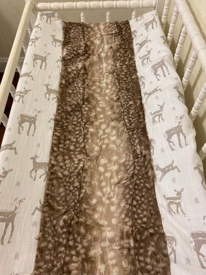 Changing Pad Cover - Woodland Fawn with Fluffy Deer Minky