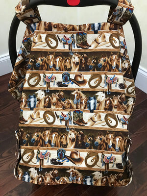 Car Seat Cover - Rodeo Horses with Pony Minky
