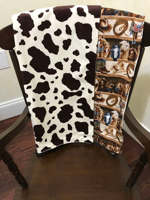 Car Seat Blanket - Rodeo Horses with Pony Minky
