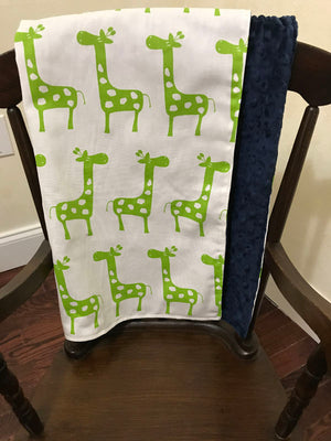 Car Seat Blanket - Lime Green Giraffe with Navy