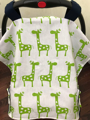 Car Seat Cover - Lime Green Giraffe with Navy