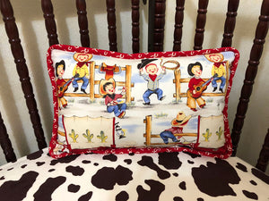 Little Cowboys with Red Horseshoe Accent Pillow