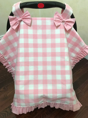 Car Seat Cover - Light Pink Buffalo Check