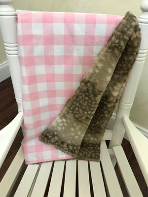 Car Seat Blanket - Light Pink Buffalo Check with Fawn Minky