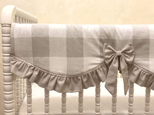 Gray Plaid Baby Girl Crib Bedding - Frency Gray Buffalo Check Girl Baby Bedding