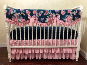 Navy Floral Girl Crib Bedding Set Rebecca - Girl Baby Bedding, Scalloped Rail Cover, Tiered Crib Skirt, Navy and Pink Floral Crib Bedding