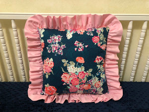 Navy Floral with Light Pink Accent Pillow