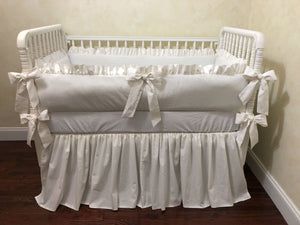 White Linen Blend Crib Bedding Set - Gender Neutral Crib Bedding, Crib Bumpers