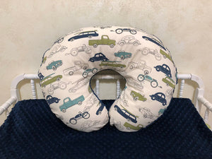 Vintage Cars with Navy Minky Dot Nursing Pillow Cover