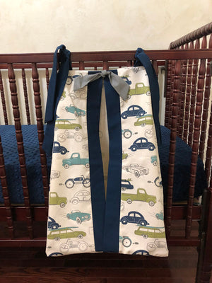 Diaper Stacker - Vintage Cars and Trucks with Navy and Gray