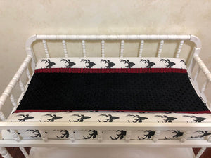 Changing Pad Cover - Black Buck with Black Minky and Red Gingham Plaid