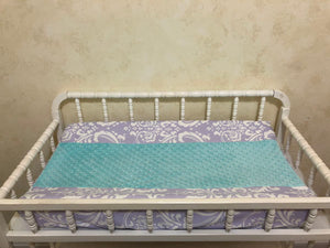 Changing Pad Cover - Lavender Damask with Aqua Minky Dot