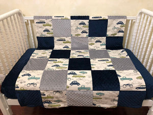 Vintage Cars and Trucks Patchwork Baby Blanket