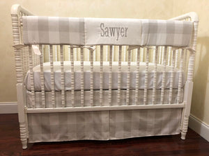 French Gray Buffalo Check Baby Bedding Set Sawyer- Gray Buffalo Plaid Crib Bedding Set