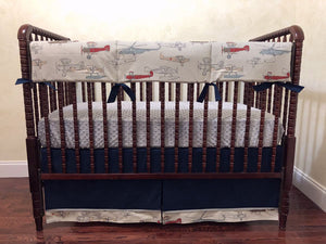 Airplane Crib Bedding Set - Boy Baby Bedding, Vintage Airplane Bedding in Navy and Gray