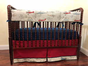 Airplane Crib Bedding Set Harrison- Boy Baby Bedding, Vintage Airplane Bedding in Gray, Navy, and Crimson