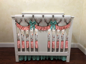 Floral Deer Mini Crib Bedding Set - Girl Mini Crib Baby Bedding in Coral and Mint