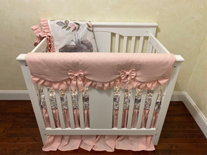 Baby Girl Mini Crib Bedding Set - Girl Mini Crib Baby Bedding, Blush Pink Linen, Floral Elephant