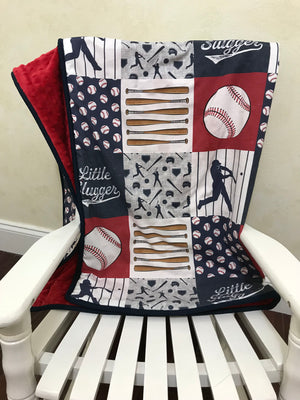 Baseball Baby Blanket, Baseball Crib Blanket in Navy, Red, and Gray