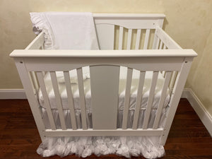 White Mini Crib Bedding Set - Girl Baby Bedding, Princess Mini Crib Bedding