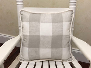 French Gray Buffalo Plaid with White Accent Pillow