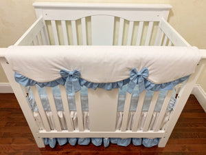 White and Light Blue Mini Crib Bedding Set - Boy Baby Bedding, Boy Mini Crib Bedding
