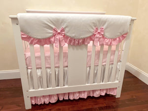 White and Pink Mini Crib Bedding Set - Girl Baby Bedding, Girl Mini Crib Bedding