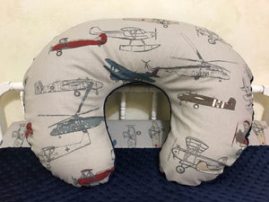 Airplane and Navy Minky Dot Nursing Pillow Cover