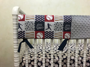 Baby Boy Baseball Crib Set - Vintage Baseball Baby Bedding in Navy and Gray, Crib Rail Cover