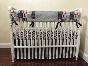 Baby Boy Baseball Crib Set - Vintage Baseball Baby Bedding in Navy Blue and Gray, Crib Rail Cover