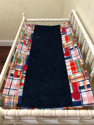 Changing Pad Cover - Coastal Plaid with Navy Minky Dot