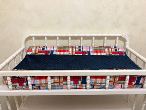 Nautical Crib Bedding Set Damian - Boy Baby Bedding, Plaid Baby Bedding, Anchor Crib Bedding