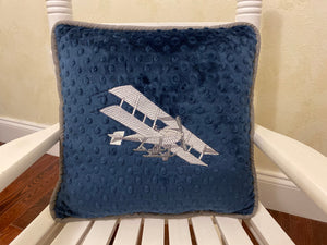 Vintage Airplane Accent Pillow in Navy and Gray