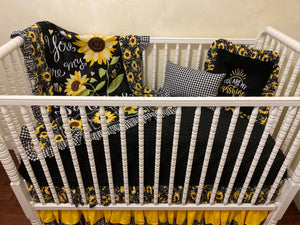 Sunflower Crib Bedding, You Are My Sunshine Bedding, Girl Baby Bedding
