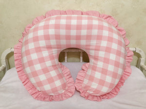 Pink Plaid Nursing Pillow Cover with Ruffle