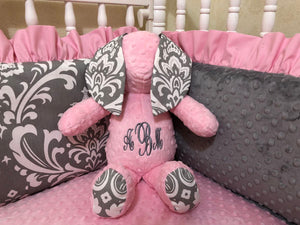 Snuggle Pal Bunny - Light Pink with Gray Damask