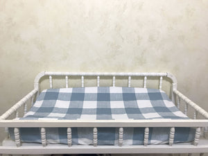 Blue Buffalo Plaid Baby Bedding Set - Buffalo Plaid Crib Bedding , Boy Crib Bedding, Crib Rail Cover Set