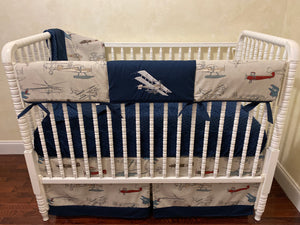 Airplane Crib Bedding Set - Boy Baby Bedding, Vintage Airplane Baby Bedding in Gray and Navy