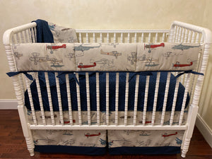 Airplane Crib Bedding Set - Boy Baby Bedding, Vintage Airplanes with Navy Crib Bedding