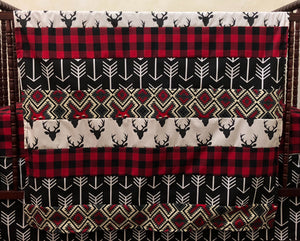 Woodland Nursery Blanket with Black Deer, Black Arrows, and Red Plaid