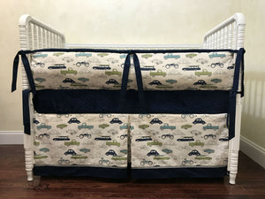 Vintage Cars Crib Bedding Set Finn - Boy Baby Bedding, Navy Baby Bedding, Crib Bumpers