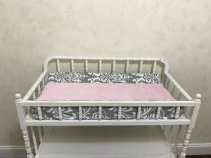 Gray Damask and Pink Girl Baby Bedding Set Aubrianna - Girl Crib Bedding, Crib Rail Cover with Ruffled Skirt